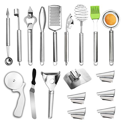 Kitchen Utensil Set, Cooking Gadgets Stainless Steel Cookware Set,18-Pcs Baking Tool Sets