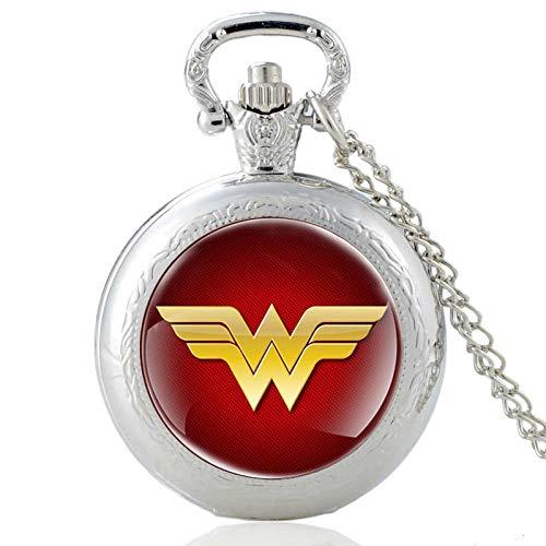 LINGZIA Reloj de Bolsillo de Las Mujeres de los Hombres, Plata de la Cadena del Collar Pendiente de la Vendimia
