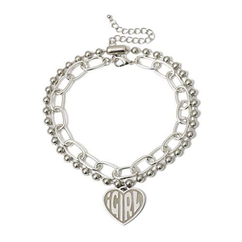 Leiouser User Female Symbol Girls Cool Crush Ball Chain Layer Choker Devil Girl Heart Pendant Necklace Women Gothic Streetwear Jewelry
