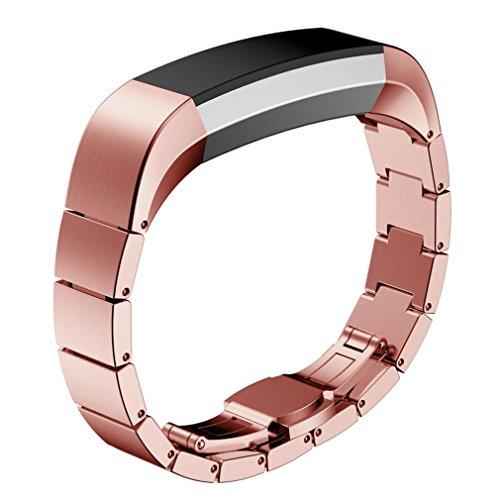 Voberry® Edelstahl-Uhrenarmband -Handgelenk-Bügel für Fitbit Alta Smartwatch (Schwarz)