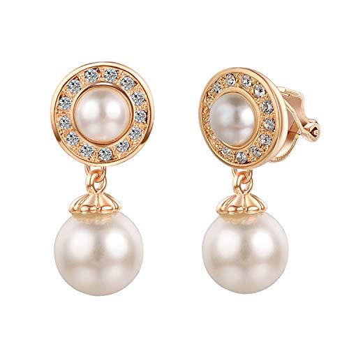 Yoursfs Pendientes de clip para mujer con perlas de cristal no perforadas, regalo de dama de honor
