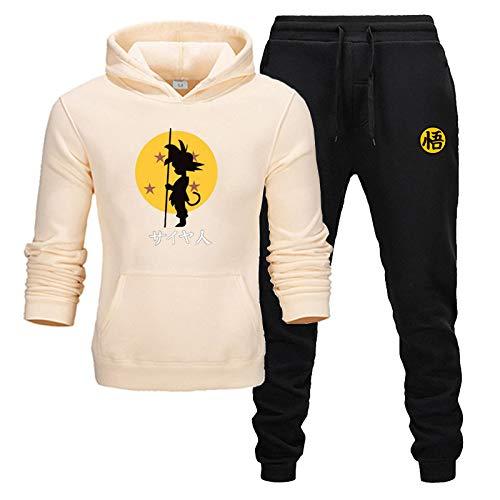 GIRLXV Pantalones Chaqueta para Hombre Sudaderas con Capucha Goku Deportes de Manga Larga Rosa otoño e Invierno cálido Traje de suéter con Capucha de Lana XL