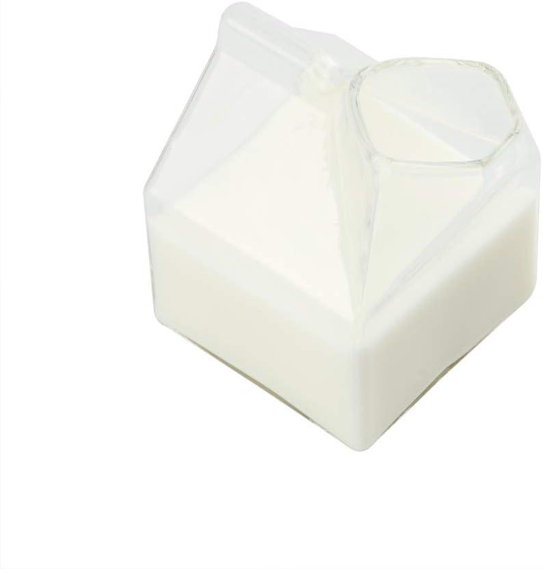 12 Ounce Glass Milk Carton, 1 Reusable Milk Carton Creamer - Durable, Serve Cream, Milk, or Juice, Clear Glass Mini Milk Carton, Dishwasher-Safe, For Homes or Restaurants - Restaurantware
