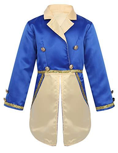 iixpin Baby Jungen Prinz Kostüm Halloween Frack Jacke Edel Satin Smoking Blazer mit Golden Knöpfe & Braided Fasching Cosplay Party Outfits GR.80-116 Blau 86-92/18-24 Monate