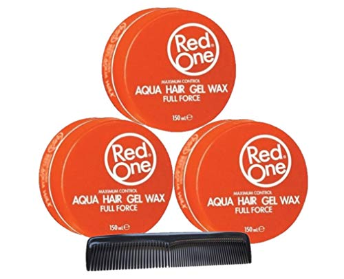 RedOne Maximum Control Aqua Hair Gel Wax Orange Full Force 150ml 3 Stück + GRATIS Taschenkamm Stylingkamm Pomadenkamm