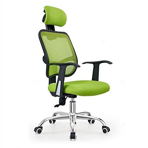 JJSFJH Silla de Oficina Silla de Escritorio con Soporte Lumbar Giratorio, Silla ergonómica de computadora con reposabrazos (Color : Green)