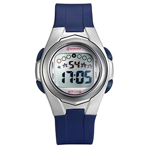 Lancardo Reloj Deportivo Digital Impermeable de 30m Multifunciones con Luces Pulsera Electrónica Correa de PVC Plástico para Actividad Deportes Exteriores para Chico Chica Niños (Azul Oscuro)