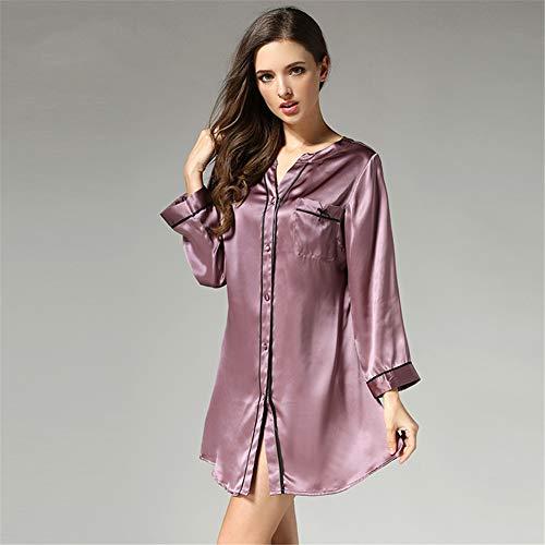 BUTTERFLYSILK Frauennachthemd, 100% Seide Nachthemd Langarm Schlafhemd Damen Nachthemd Button Down Nachtwäsche Nachtwäsche Loungewear,Lila,M