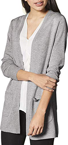 Esmara® Damen Feinstrick-Cardigan Longstrickjacke mit offenem V-Ausschnitt (grau, Gr. L 44/46)