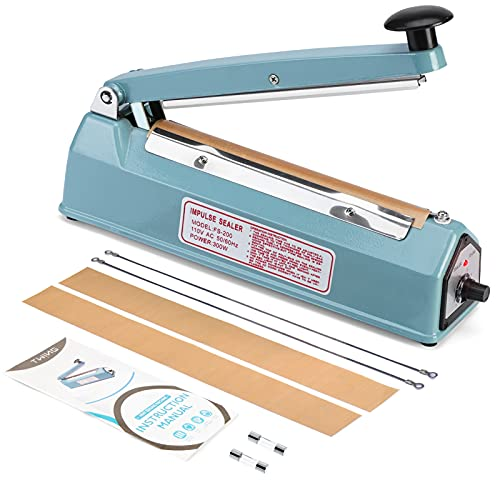 Twing 8 inch Impulse Bag Sealer Poly Bag Heat Sealer Sealing Machine Heat Seal Closer with Repair Kit