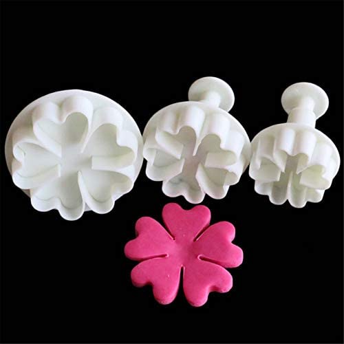 FVVMEED 3 Pieces Heart Flower Shape Biscuit Cutters Cookie Stamps Plunger Cutter Fondant Molds product image