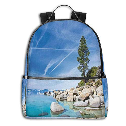 College Backpacks for Women Girls,Clear Dreamy Sky Over Inland Creek Surrounded by Land Liquid Surface of Earth Print,Casual Hiking Travel Daypack