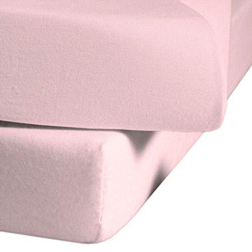 fleuresse Jenny C klassisches Jersey-Spannlaken, 100% Baumwolle, mit praktischem Rundumgummi, Fb. Rosa, Größe 120 x 200 cm, auch passend für 110/130 x 200