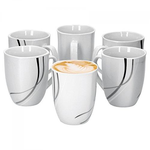 Van Well 6er Set Kaffeebecher Silver Night, Jumbo-Tasse, 300 ml, 85 x 85 mm, Hotelporzellan, große Kaffeetasse, Porzellanbecher, abstraktes Dekor, Gastro