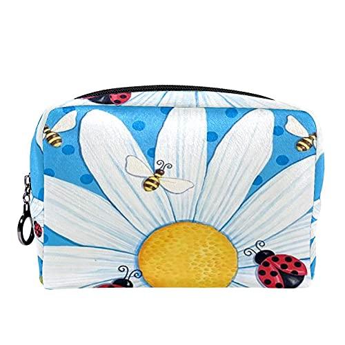 Estuche cosméticos Viaje portátil Organizador Bolsas Maquillaje Bienvenido Flor Margaritas Bee Ladybug Cremallera Bolsillo Grande Almacenamiento