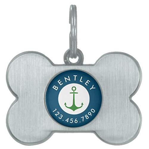 Rfy9u7 Etiquetas personalizadas para mascotas para perros y gatos, nombre de ancla náutica y número de teléfono azul verde etiqueta de identificación para mascotas regalos - hueso de acero inoxidable