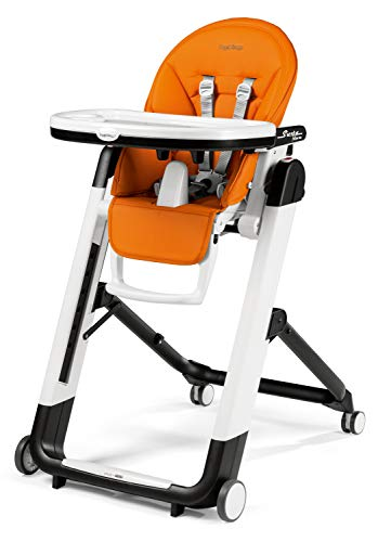 Peg Perego Siesta Follow Me - Arancia - Design-Hochstuhl mit Baby-Liegefunktion und Stop&Go-System mit Memory-Funktion, Lederimitat-Bezug, orange