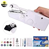 HALOVIE Sewing Machine, 19pcs Mini Handheld Sewing Machine Electric Portable Hand Stitch Clothes