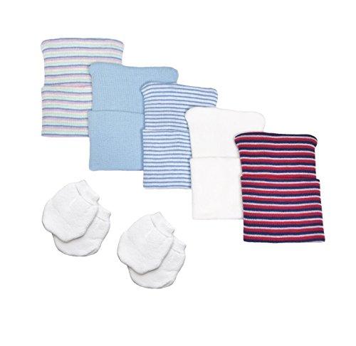 5 Piece Hospital Hat & Mitten Set for Newborn Baby (Boy) by Nurses Choice