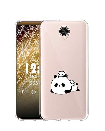 Sunrive Kompatibel mit Meizu Pro 6 Plus Hülle Silikon, Transparent Handyhülle Schutzhülle Etui Hülle (TPU Panda 6)+Gratis Universal Eingabestift MEHRWEG