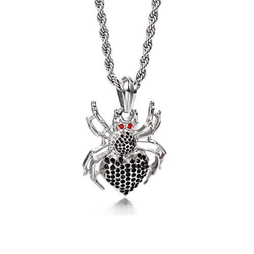 Beydodo Kette Edelstahl Anhänger Spinne mit Zirkonia Halskette Herren Silber Freundschaftskette