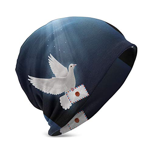 """Miusixi Gorro de invierno con diseño de paloma, con mensaje en inglés """"Fly with Mail Kids"""", color negro"""