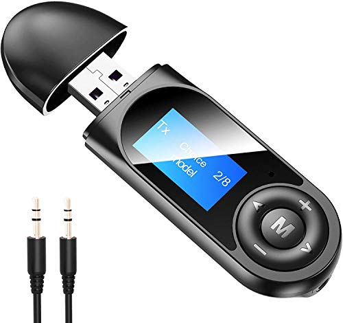 SONZON LCD screen Bluetooth Transmitter, USB 5.0 Bluetooth Transmitter and Receiver,Wireless Bluetooth Adapter Audio Adapter for PC, TV, Headphones, Speaker, Car, Home Stereo System