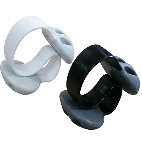 Condello Casa icke-självhäftande vikt skrivbord kabel droppklämma silikon skrivbord organiserare små linjer slipsar fixering prydlig bordsskiva kabelhållare klämma kabelhanteringssats för hemmakontor 11CM LX6CM WX4CM H Black 1pcs+white 1pcs