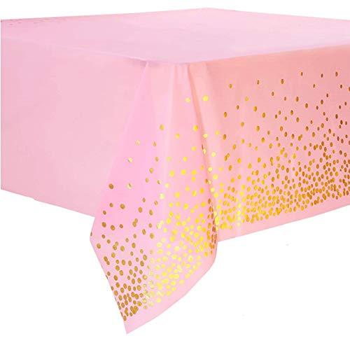 Seully 2 Stück Partytischdecken, Verdickte Bronzierende Rosa Party Rechteck Tischdecken, Geburtstags Hochzeitsfeier Tischdecke, Innen- oder Außenpartys Jubiläumsdekorationen, 54