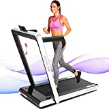 ANCHEER 2 in1 Folding Treadmill, 2.25HP Under Desk Electric Treadmill with Remote Control and Bluetooth Speaker & LCD Monitor,Installation-Free,Exercise Fitness Machine for Home/Office Use (Silver)