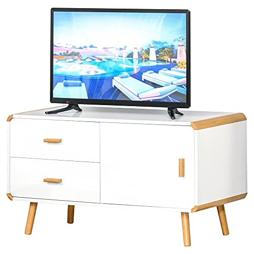 HOMCOM TV Schrank Lowboard Fernsehtisch TV-Kommode für Fernseher Kleiner als 45'' mit 2 Schubladen und Schrank Wohnzimmer Bambus MDF Weiß+Natur 100 x 47 x 55,5 cm