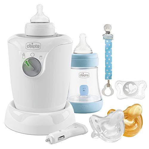 Chicco Perfect 5 Starter Set de lactancia, para niño, biberón anticólico, clip, calentador de biberones, gomas, azul