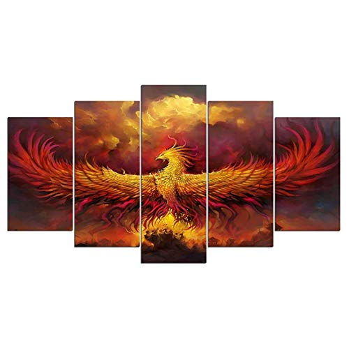 Leinwand HD-Drucke 5 Panel Wandkunst Wandbilder für Wohnzimmer Warlords of Draenor World Bilder für Wohnzimmer 200x100 cm