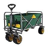 Carrito para acampar para jardín al aire libre, carrito de compras de supermercado plegable portátil de cuatro ruedas, carrito plegable, para ocio, picnic, playa, pesca, capacidad de carga de 120 kg