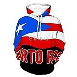 Silinana Puerto Rico Flag Puerto Rican Unisex 3D Digital Print Couple Hoodie Women Men Sweatshirt Pullover, Color1, X-Large