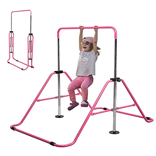 Slsy Gymnastics Bars Kids Kip Training Bars for Home, Folding Horizontal Bars with Adjustable Height, Practice Bar Gymnastic for Kids, Child, Girls, Boys (Pink Pro)