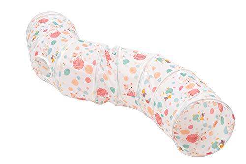 BeneBomo S型猫トンネル おもちゃ キャットトイ ネコトンネル ペット玩具 折りたたみ可能 水洗い可能 S型 穴付きキャット 長いトンネル 猫遊び (ピンク)