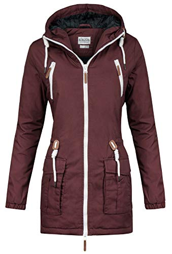 Sublevel Damen Matilda Winter Jacke Parka Mantel Winterjacke gefüttert mit Kapuze 6 Farben XS-XL Earth Red M