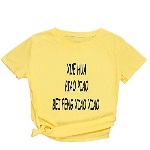 Masrin T-shirt à col rond et manches courtes pour femme M jaune