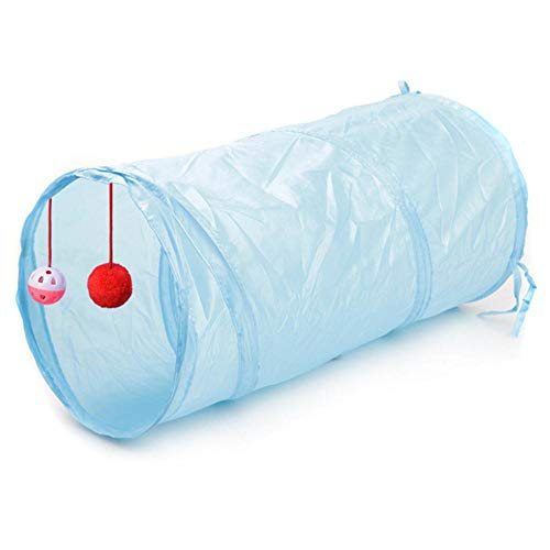 Mingi Cute Funny Pet Cat Tunnel 2 Trous Play Tubes Balls Pliable Crinkle Kitten Toys Puppy Rabbit Play Dog Tunnel Tubes, Bleu Ciel, 50x25 cm