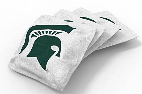Wild Sports NCAA College Michigan State Spartans White Authentic Cornhole Bean Bag Set (4 Pack)