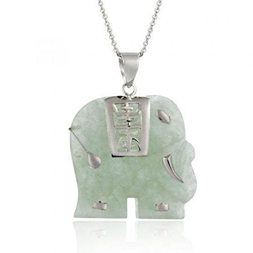 Royal Design Spiritueller Elefant Ketten-Anhänger aus grüner Jade mit chinesischem Zeichen für langes Leben, Sterling Silber