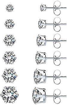 6-Pairs Uhibros Stainless Steel Stud Earrings Set