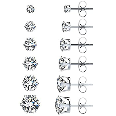 Amazon - 50% Off on  6 Pairs Stainless Steel Stud Earrings Set Hypoallergenic Cubic