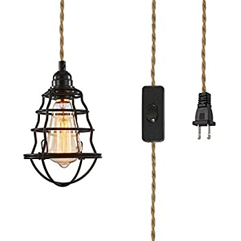 Industrial Plug in Pendant Light Hanging Edison Light Fixture with Plug,Hemp Rope Light Cord Metal Cage Lampshade Lighting fixtures with Switch for Bedroom Barn Restaurants Hotels 1-Pack …