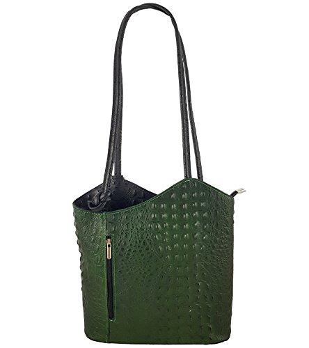 Freyday 2 in 1 Handtasche-Rucksack Henkeltasche aus Echtleder in versch. Designs (Kroko Grün-Schwarz)