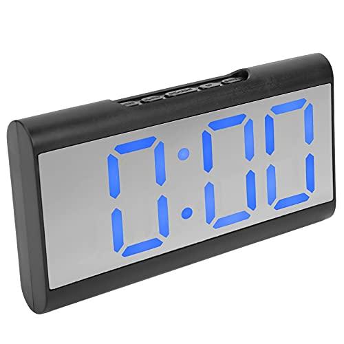 Reloj despertador digital, reloj digital Fácil de operar Ajuste de brillo Pantalla digital LED Sistema de 12/24 horas para niños(azul)