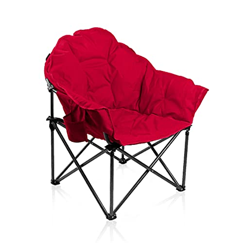 ALPHA CAMP Oversized Camping Chairs Padded Moon Round Chair Saucer Recliner with Folding Cup Holder and Carry Bag (Rose Red)