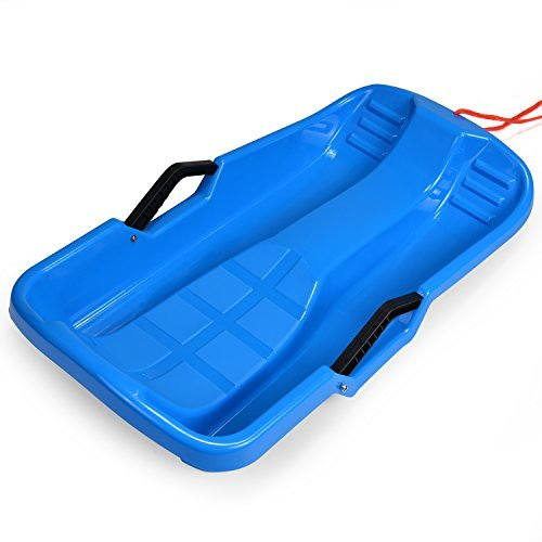 Odoland Winter durable Plastic snow Sled in boat shape Snow Sledge for child Outdoor Pulling Snow board Snow Seats Integrated brake handle 64*36*14CM/25*14*5.5 inch (Blue)