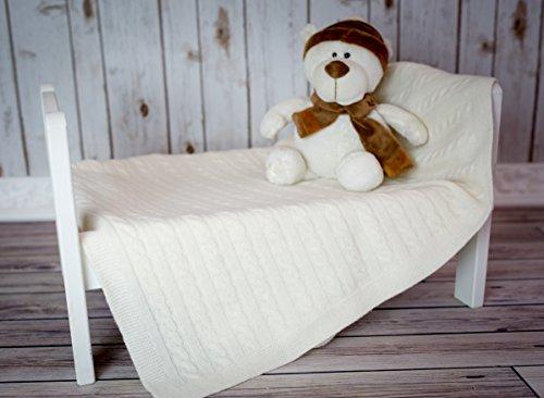 Uitverkoop zacht babydeken, kinderwagendeken van Nordsnow Baby single cable Merino wool deken